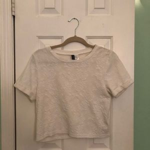 H&M Divided White Rose Pattern Shirt
